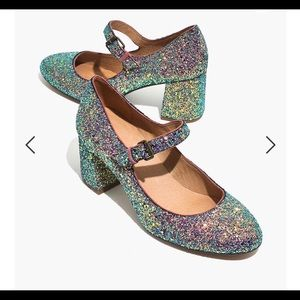 Madewell Zelda Mary Jane glitter pumps